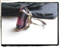 Vintage Art Deco Dark Amethyst Purple Glass STERLING SILVER 925