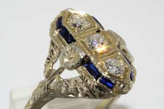 02CT ANTIQUE ART DECO SAPPHIRE & DIAMOND RING 18K VS SIZE 5.25