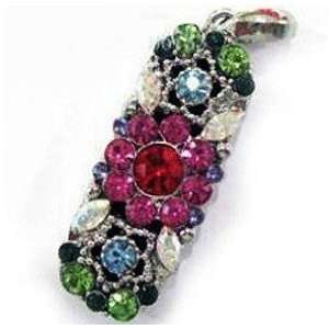Fresh Crystal Flower Pattern Strap USB flash drive with Necklace