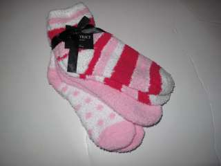 Tracy 3 Pr Womens Warm Fuzzy Chenille Slipper Socks Pink White Magenta