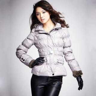 Fashion womens ladies puffers Faux Fur Hood Belt Down Jacket winter