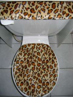LEOPARD PRINT Faux Fur Fabric Toilet Seat Cover Set