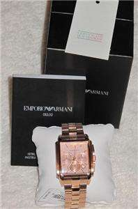 Emporio Armani Mens18k Rose Gold Classic Chronograph Dial New $445