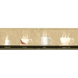 Cafe Java Time Coffee Cups Beige Wall Border 5813735