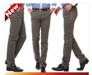 New Mens Korean Style Fashion Slim Fit Casual Pants Trousers Khaki