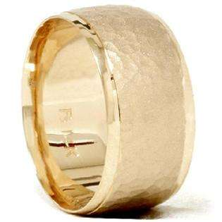 Mens 10MM 14K Yellow Gold Hammered Wedding Ring Band  Pompeii3 Inc