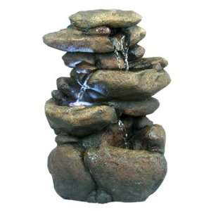 3 Tier Rock Fountain with LED light Patio, Lawn & Garden