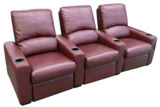 EROS Home Theater Seating 3 Burgundy Seats Push Back Recliner Chairs