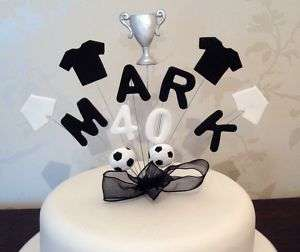 NAME & AGE BIRTHDAY CAKE TOPPER   FOOTBALL WITH TROPHY