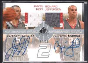 JASON KIDD JEFFERSON 03/04 SP DUAL AUTO JERSEY /50 $120