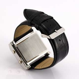 Stylish Mens Womens Big Fashion Stainless Steel Case Light Display