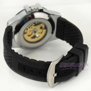 Skeleton Automatic Mechanical Black Rubber Band Mens Wrist Watch
