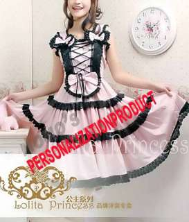 Lolita Saloon girl black Lace cute Ball Gown Pink Cotton Dress