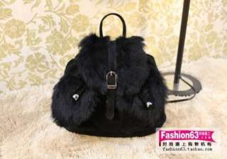Women Fashion Vintage Faux Fur Backpack Handbag Crossbody Shoulder Bag
