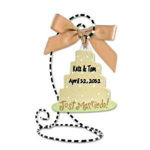 Personalized Wedding Cake Ornament with Optional Stand