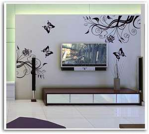 Wall Art Decal Sticker classic style Vine flower and butterfly