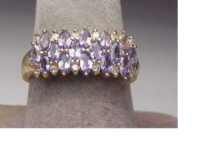 14K Yellow Gold Tanzanite Diamond Band Ring