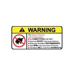 Skoda Turbo No Bull, Warning decal, sticker
