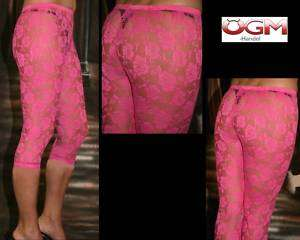 Capri LEGGINGS Transparent Spitze PINK 34 36 38 NEU