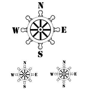 Nautical Compass   Ships Wheel   Vinyl Decal, Wall, Car, Boat