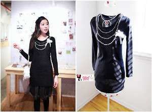 yrfashion Korean Women Fashion Cute Pearl Necklace Cotton Black Round