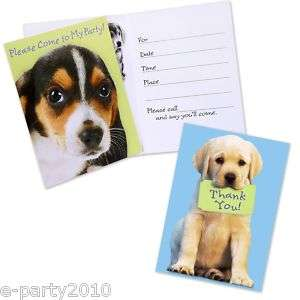 PUPPY PARTY INVITATIONS THANK YOU CARDS ~ Birthday Supplies