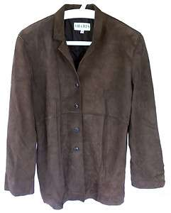 Sharis Place Womens Brown Leather Jacket, 4 button Front. Size 6