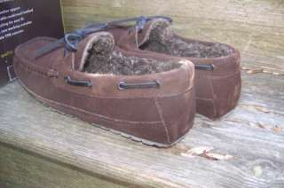 BROWN COMMANDER SUEDE LEATHER IN/OUTDOOR SLIPPERS SHOES NIB $60