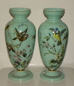 Pair Of Antique French Baccarat Opaline Glass Enameled Vases. 19th