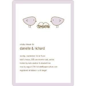 Nesting Birds Twins Baby Shower Invite Health & Personal