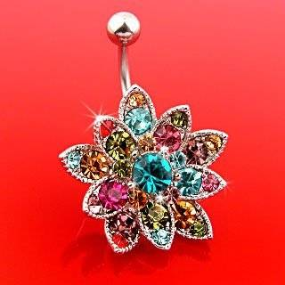 Genuine Swarovski Crystals Set Flower Belly Ring   14G   3