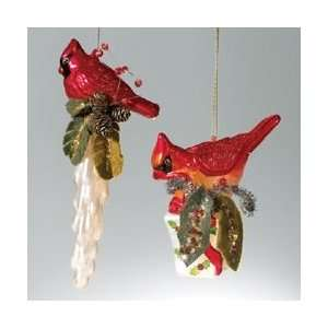Perched Cardinal Couple Christmas Bird Ornaments