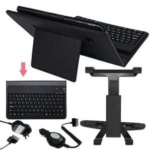 Premium Black Leather Case With Bluetooth Keyboard + Black