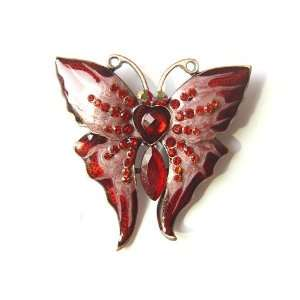 Ruby Red Crystal Rhinestone Butterfly Enamel Paint Fashion Brooch Pin