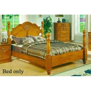 California King Size Bed with Four Posts in Pine Finish