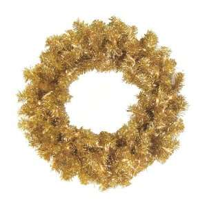 Gold Artificial Tinsel Christmas Wreath   Clear Lights