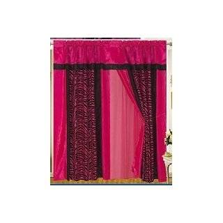 A Pair of Pink / Black Zebra Design Window Curtain