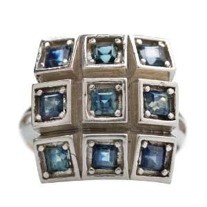 Sterling Silver Princess Cut Prong Set Modern Sapphire Ring Jewelry