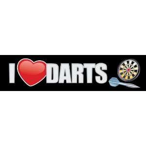 I Love Darts Bumper Sticker   Dart Bumper Sticker Decal