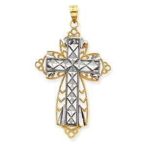 Polished 14k Gold Two tone Diamond cut Layered Cross Pendant Jewelry