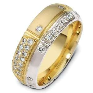 modern two tone diamond wedding band ring (0.44cts diamonds 14K Gold