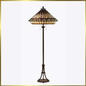 Tiffany Floor Lamp, QZTFAD137FVA, 2 lights, Antique Bronze, 17 wide X