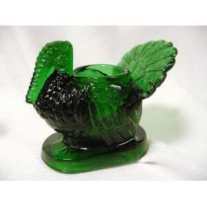 Toothpick Holder Hunter Green GLASS THANKSGIVING