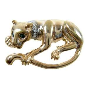 Gold Plated Lynx Cat Brooch   Gold Plated Jungle Cat Lapel Pin