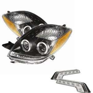 Carpart4u Toyota Yaris 2Dr Halo Black Projector Headlights and LED Day