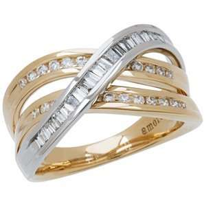 0.56 Carat 18kt Two Tone Gold Diamond Ring Jewelry