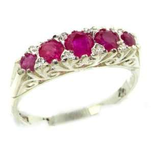 Luxury Solid White Gold Natural Red Ruby Victorian Style Eternity Ring