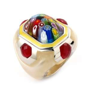 Multi Color Murano Glass Rectangular Ring, Size 7 Alan K. Jewelry