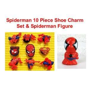 com Set of 10 Super Hero Spiderman Figure and Shoe Charms, Shoe Snap