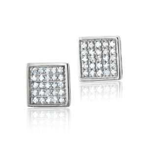 10k White Gold Square Diamond Earrings Studs   HI, I, 0.30